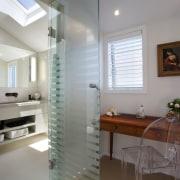 This master bathroom was transformed by designer Celia bathroom, ceiling, floor, flooring, home, interior design, real estate, room, window, gray
