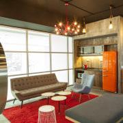 Warner Music - Vibrant hip workplace - Warner interior design, real estate, room, brown