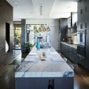 This kitchen floor is on two levels, so countertop, house, interior design, kitchen, living room, gray, black