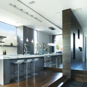 In this new home project, a long dividing ceiling, countertop, interior design, kitchen, real estate, white