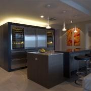 Sleek, contemporary German kitchen - Sleek, contemporary German countertop, interior design, kitchen, room, black, brown