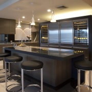 Sleek, contemporary German kitchen - Sleek, contemporary German countertop, interior design, kitchen, black, brown