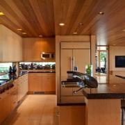 Modern lakeside home - Modern lakeside home - architecture, cabinetry, ceiling, countertop, cuisine classique, hardwood, interior design, kitchen, real estate, brown