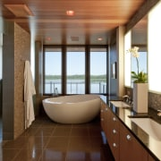 Modern lakeside home - Modern lakeside home - architecture, bathroom, ceiling, estate, interior design, lobby, real estate, room, brown