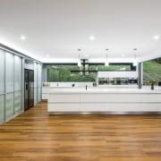 Contemporary kitchen with Smeg appliances - Contemporary kitchen countertop, floor, flooring, hardwood, house, interior design, kitchen, real estate, wood flooring, white