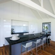 Contemporary kitchen with Smeg appliances - Contemporary kitchen architecture, ceiling, daylighting, floor, house, interior design, real estate, gray, white