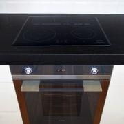 Contemporary kitchen with Smeg appliances - Contemporary kitchen electronics, furniture, home appliance, kitchen appliance, kitchen stove, multimedia, product, black, white