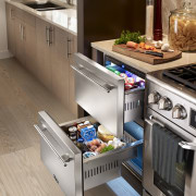 Two true refrigerator drawers create a coking prep countertop, drawer, gas stove, home appliance, kitchen, kitchen appliance, kitchen stove, major appliance, refrigerator, small appliance, gray, brown