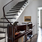 Stair in Manhattan townhouse remodel - Stair in flooring, furniture, handrail, home, interior design, shelf, shelving, stairs, gray, black