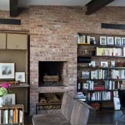 Penthouse study in Manhattan townhouse remodel - Penthouse bookcase, bookselling, furniture, home, interior design, library, living room, public library, shelving, black, gray