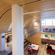 Joan Freeman Science Art and Technology Centre - architecture, ceiling, daylighting, institution, interior design, public library, gray, orange