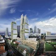 Distinctive new Grade A office developments in Singapore bird's eye view, building, city, cityscape, condominium, daytime, downtown, landmark, metropolis, metropolitan area, mixed use, sky, skyline, skyscraper, tower block, urban area, blue