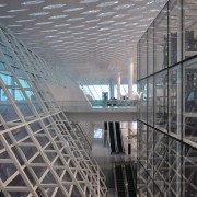This multi-level concourse allows vistas through the building, architecture, building, daylighting, daytime, glass, headquarters, metropolis, metropolitan area, mixed use, reflection, skyscraper, structure, tourist attraction, gray, black