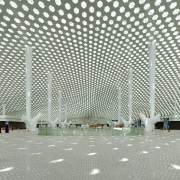 Structural supports are used sparingly in the design airport terminal, architecture, building, daylighting, infrastructure, line, metropolitan area, structure, gray, white