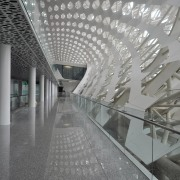 Structural supports are used sparingly in the design airport terminal, architecture, building, ceiling, daylighting, infrastructure, metropolitan area, structure, tourist attraction, gray