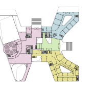 Plan of the Xian Jiaotong-Liverpool University Administration Building angle, area, design, diagram, floor plan, joint, line, plan, product design, white