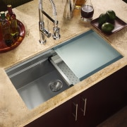 Houzer sinks come with sliding cutting boards can bathroom sink, countertop, plumbing fixture, sink, tap, black, orange