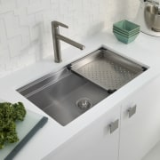 With both boards removed the sink is large bathroom sink, kitchen sink, plumbing fixture, product design, sink, tap, gray