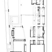 Plan of ground floor of contemporary house by angle, architecture, area, black and white, design, drawing, floor plan, line, plan, product, product design, square, white