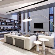 The double-height living room in this new home interior design, living room, white, gray