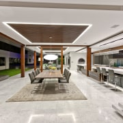 The wooden frame of the portico in this house, interior design, lobby, real estate, gray