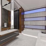 Modern master bathroom with vanity - Modern master floor, interior design, gray