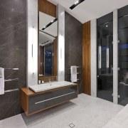 Modern master bathroom - Modern master bathroom - bathroom, floor, interior design, gray, black
