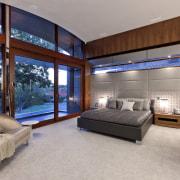 Modern master bedroom - Modern master bedroom - architecture, bedroom, ceiling, estate, house, interior design, real estate, room, window, wood, gray