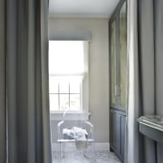 Soft grey drapes can be pulled to conceal curtain, home, interior design, room, textile, window, window covering, window treatment, gray, black