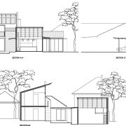 Reminiscent of a Japanese courtyard house, this house angle, architecture, area, artwork, black and white, design, diagram, drawing, elevation, facade, floor plan, font, home, house, line, line art, plan, product, product design, property, residential area, shed, structure, technical drawing, white