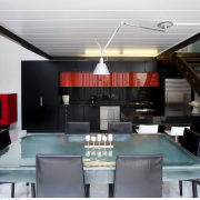 Living area in commercial building renovation - Living ceiling, interior design, loft, table, gray, black