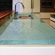Custom glass countertop by ThinkGlass - Custom glass countertop, floor, flooring, glass, swimming pool, table