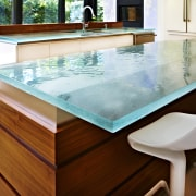 Custom glass countertop by ThinkGlass - Custom glass countertop, floor, furniture, swimming pool, table, white