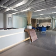 This boutique office development on a brownfields site ceiling, floor, interior design, gray