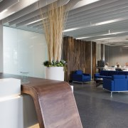 This boutique office development on a brownfields site architecture, ceiling, floor, flooring, furniture, interior design, gray
