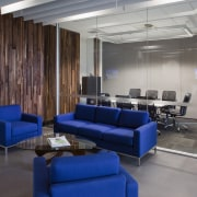 This boutique office development on a brownfields site furniture, interior design, lobby, gray