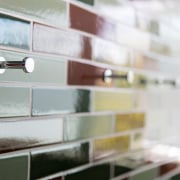 Small bathroom transformed with handmade tiles  - furniture, glass, interior design, product, shelf, shelving, wood, gray