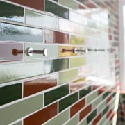 Small bathroom transformed with handmade tiles  - brick, floor, glass, material, wall, window, wood, gray, white