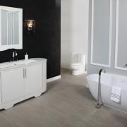 Lacava creates distinctive bathroom ware, such as the bathroom, bathroom accessory, bathroom cabinet, floor, flooring, interior design, plumbing fixture, product, product design, room, tile, gray