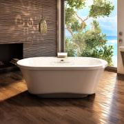 Never before has the bathroom been so much bathroom, bathtub, ceramic, floor, flooring, hardwood, interior design, plumbing fixture, product design, tap, tile, wood, wood flooring, brown