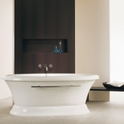 Classic looks never date the Naos from Bain bathroom, bathroom accessory, bathroom cabinet, bathroom sink, ceramic, floor, interior design, plumbing fixture, product design, sink, tap, white