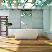 Resort-style bathing is all about the feel-good factor. bathroom, ceiling, floor, flooring, interior design, product design, gray