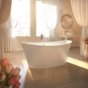 Resort-style bathing is all about the feel-good factor. bathroom, bathroom sink, bathtub, ceramic, floor, flooring, interior design, plumbing fixture, room, sink, tap, tile, orange, brown, white