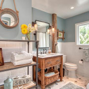 This modest guest bathroom celebrates a relaxed seaside bathroom, estate, home, interior design, living room, property, real estate, room, gray