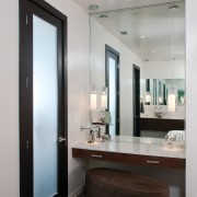 Taking a cue from contemporary luxury hotels, this bathroom, door, interior design, room, window, gray