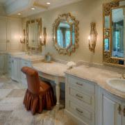 Owner-designer Terri Miller specified three decorative mirrors, with bathroom, cabinetry, ceiling, countertop, estate, floor, flooring, home, interior design, room, gray, brown