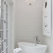 This all-white bathroom replaces a dated master bathroom bathroom, bathroom accessory, bathroom cabinet, bathroom sink, bidet, ceramic, floor, home, interior design, plumbing fixture, product design, room, sink, tap, tile, wall, gray