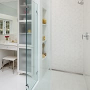 This all-white bathroom replaces a dated master bathroom angle, bathroom, floor, plumbing fixture, product design, gray