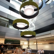 The airy, ground-floor café in the light well ceiling, daylighting, interior design, white