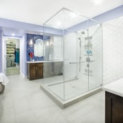 Symmetry and balance play a strong part in bathroom, home, interior design, property, real estate, room, white